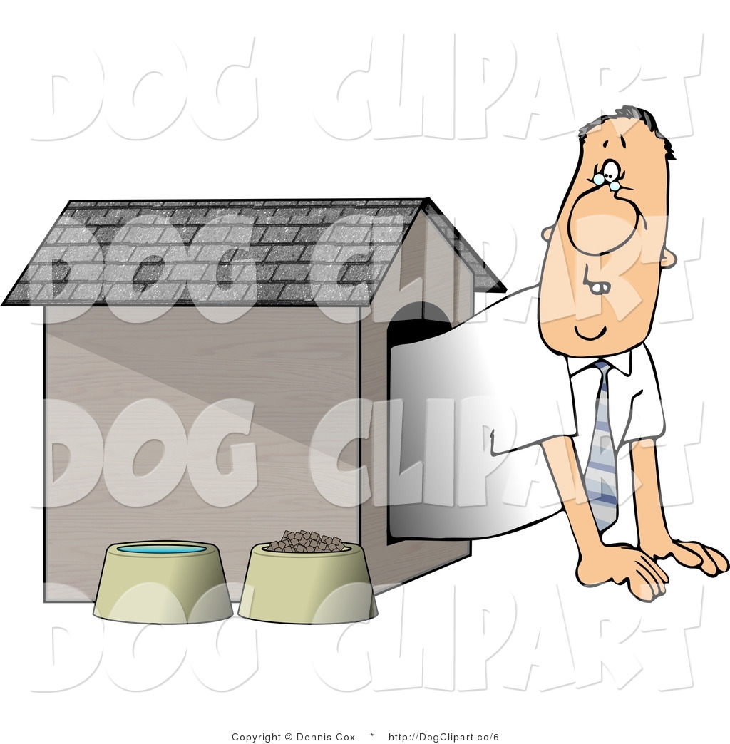 Clip Art Man Waiting Dog House Dennis Cox