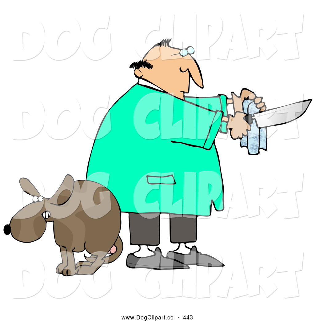 Clip Art of a Scared Brown Dog with Balls, Cowering with Its Legs ...