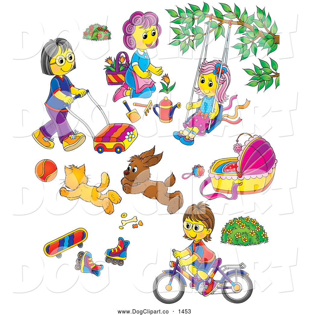 Clip art of mothers children toys dogs and pets by alex bannykh 1453