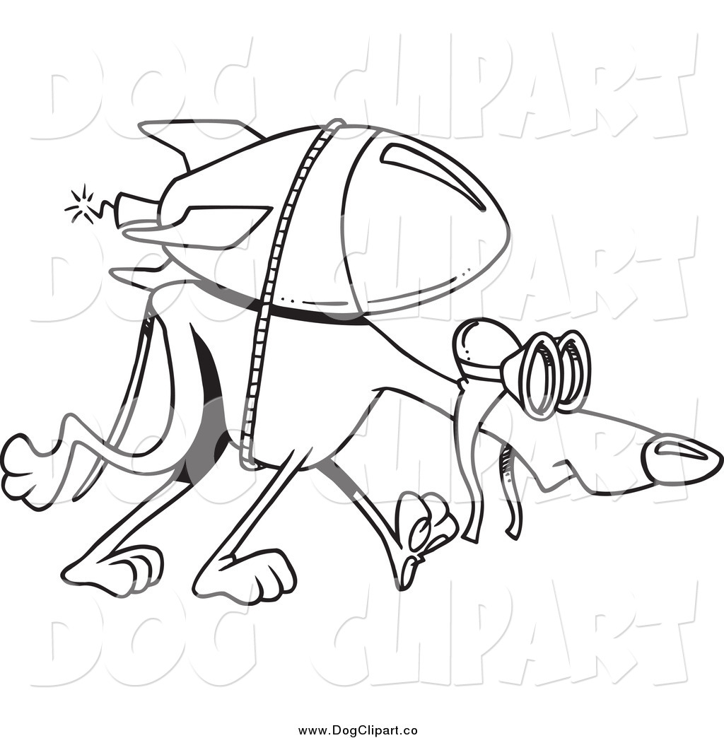 Line Art Rocket : Vector cartoon clip art of a black and white rocket