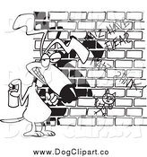 December 26th, 2014: Cartoon Clip Art of a Black and White Dog Spray Painting Graffiti by Toonaday