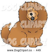 Cartoon Clip Art of a Cute and Fluffy Brown Chow Chow Dog Sticking His Black Tongue out and Looking at the Viewer on White by Djart