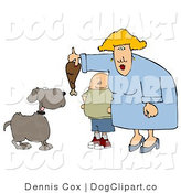 Cartoon Clip Art of a Fat Son Watching His Fat Mom Feed Pet Dog a Turkey Leg by Djart