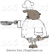 Cartoon Clip Art of a Human-like Cook Dog Cooking with a Skillet and Spatula in Either Hand by Djart