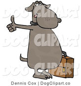 Cartoon Clip Art of a Human-like Dog Hitchhiking for an Automobile Ride and Holding a Suitcase by Djart