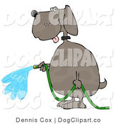 Cartoon Clip Art of a Human-like Dog Watering Outdoor Gardens with a Standard Household Garden Hose by Djart