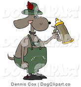 Cartoon Clip Art of a Humorous German Anthropomorphic Dog Holding a Beer Stein While Celebrating Oktoberfest - Holiday by Djart