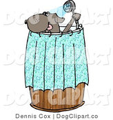 Cartoon Clip Art of an Anthropomorphic Brown Dog Showering by Djart