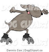 Cartoon Clip Art of an Energetic Dog Skating with His Tongue out by Djart