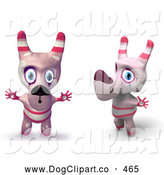 Cartoon Clip Art of Two Happy Pink Toy Cartoon Dogs Holding Their Arms out and Making Funny Faces by Tonis Pan