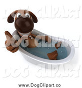 October 11th, 2014: Clip Art of a 3d Brown Dog Holding a Thumb up in a Bath Tub by Julos