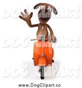Clip Art of a 3d Brown Dog Waving and Riding a Scooter by Julos