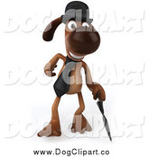 March 4th, 2015: Clip Art of a 3d Brown Gentleman Dog Walking Forward with an Umbrella by Julos