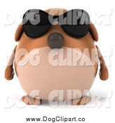 Clip Art of a 3d Chubby Brown Dog Wearing Sunglasses by Julos