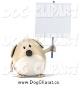 Clip Art of a 3d Chubby Tan Dog Holding up a Sign by Julos