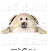 Clip Art of a 3d Chubby Tan Dog over a Sign by Julos