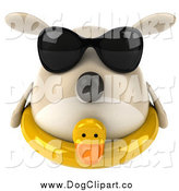 January 19th, 2015: Clip Art of a 3d Chubby Tan Dog Wearing Sunglasses and an Inner Tube by Julos