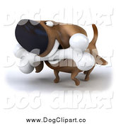 Clip Art of a 3d Dachshund Dog Carrying a Bone by Julos