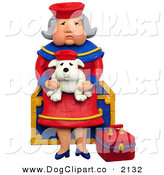 Clip Art of a 3d Elderly Grandmother Sitting on a Chest with Her Lookalike Bulldog by Amy Vangsgard