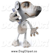 Clip Art of a 3d Jack Russell Terrier Dog Talking on a Smart Phone by Julos