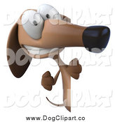 Clip Art of a 3d Wiener Dog Pointing Around a Sign Board by Julos