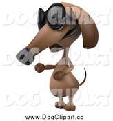 Clip Art of a 3d Wiener Dog Wearing Shades and Presenting by Julos