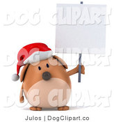 Clip Art of a 3d Xmas Dog with a Sign by Julos