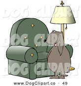 Clip Art of a Bad Dog Looking Back over His Shoulder While Peeing on a Chair in a Living Room on White by Djart