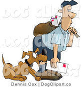 Clip Art of a Bad Dog Nipping the Mailman on the Leg by Djart