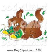 Clip Art of a Bad Puppy Dog Chewing up a Pair of Green Shoes by Alex Bannykh