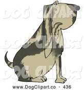 Clip Art of a Big Brown Bloodhound Dog with a Marble Patterned Coat by Djart