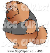 Clip Art of a Big Furry Brown Chow Chow Dog Wearing a Vest and Standing up on Its Hind Legs like a Human by Djart