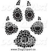 Clip Art of a Black and White Inkblot Dog Paw Print by Cherie Reve