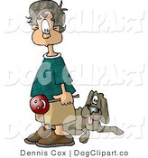 Clip Art of a Bored Brown Haired Boy Holding a Lollipop and Standing with His Back Towards a Dog by Djart