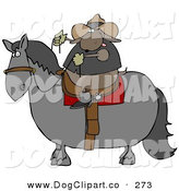 September 16th, 2012: Clip Art of a Brown Cowboy Dog Riding a Horse Left by Djart