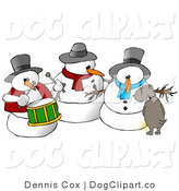 Clip Art of a Brown Dog Urinating on a Snowman by Djart