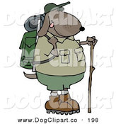 Clip Art of a Brown Dog Using a Hiking Stick While Backpacking with Camping Gear by Djart