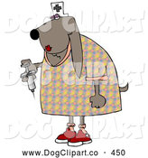 Clip Art of a Brown Female Bloodhound Dog Nurse Wearing a White Hat with a Cross and Holding a Syringe with Medicine Inside by Djart
