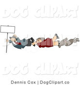 Clip Art of a Businesswoman, Businessman, and Dog Holding onto a Blank Sign Pole While Being Blown Around in a Severe Tropical Wind Storm by Djart