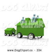 Clip Art of a Busy Relocating Family with Their Home on Wheels, Pulling Along Their Dog in the Dog House by 3poD