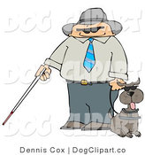 Clip Art of a Caucasian Blind Man with a Cane and Guide Dog by Djart