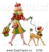 Clip Art of a Caucasian Blond Woman Walking Her Lookalike DogCaucasian Blond Woman Walking Her Lookalike Dog by Amy Vangsgard