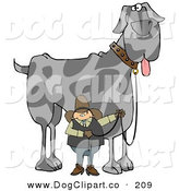 Clip Art of a Caucasian Cowboy Walking a Giant Great Dane Dog on a Leash by Djart
