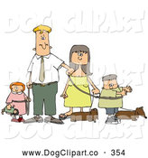 Clip Art of a Caucasian Man and Woman Walking Their Dachshund Dogs and Kids on Leashes by Djart
