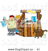 Clip Art of a Chubby and Unaware Boy and Girl Preparing Beverages at Their Lemonade Stand While Their Dog Urinates in a Cup for an Unsuspecting Customer by Djart