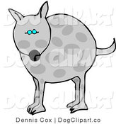 Clip Art of a Chubby Gray Spotted Dog with Blue Eyes by Djart