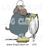 September 15th, 2012: Clip Art of a Construction Worker Brown Dog in a Hardhat Using a Jack Hammer on the Ground by Djart