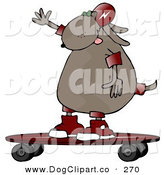 September 20th, 2012: Clip Art of a Cool Brown Dog Riding a Skateboard to the Left by Djart