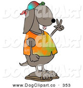 Clip Art of a Cool Brown Hippie Dog in a Tye Die Shirt and Sandals and Flashing the Peace Sign Gesture on His Hand by Djart