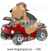 Clip Art of a Cool Brown Hound Dog Wearing a Vest and Driving a Bright Red ATV by Djart